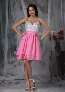 Straps Mini-length Chiffon Beaded Grad Dresses in Pink and White