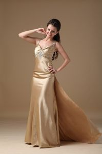 Straps Beaded Graduation Dresses with Brush Train in Champagne