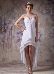 V-neck High-low White Graduation Dresses with Beading in Chiffon
