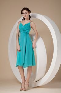 Turquoise Knee-length Middle School Graduation Dress with Straps