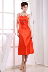 Orange Taffeta Tea-length Graduation Dress for College with Beading