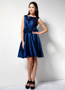 Royal Blue College Graduation Dress with Hand Made Flowers Waist