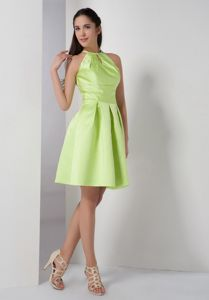 Yellow Green 8th Grade Graduation Dress with Peekaboo Keyhole