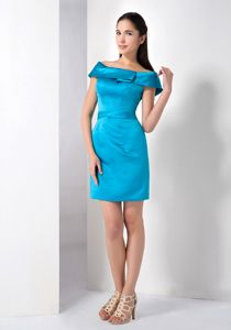 Brand New Satin off the Shoulder Teal Graduation Dress for College