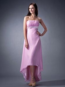 Pink Strapless High-low Ruching College Graduation Dresses on Sale