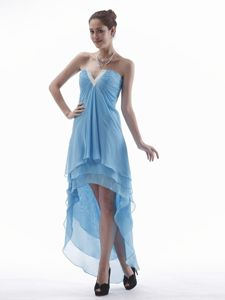 V-neck High-low Chiffon Evening Dress for Graduation in Saguenay