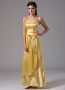 Yellow Spaghetti Straps Graduation Dresses Ankle-length with Bow