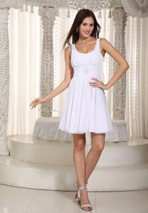Plus Size White Straps Scoop Mini-length College Graduation Dress