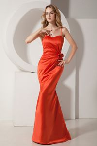 Floor-length Orange Spaghetti Straps University Graduation Dresses