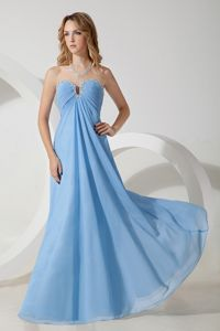 Lovely Sky Blue Chiffon Beading Eighth Grade Graduation Dresses