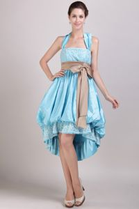 Lace Decorate Halter Graduation Dress with Bowknot and Buttons