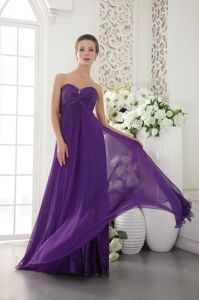 Sweetheart Chiffon Purple Graduation Dress For Girls with Beading