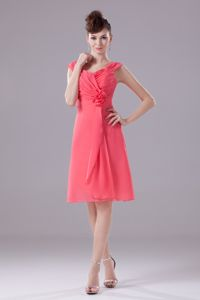 Coral Graduation Dress For College Knee-length with Straps and Ruches