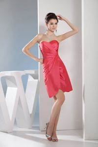 Sweetheart Watermelon Senior Graduation Dress with Ruches in Taffeta