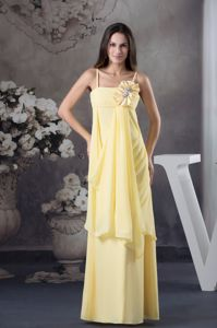 Yellow Chiffon Cute Ceremony Dress with Straps and Hand Made Flower