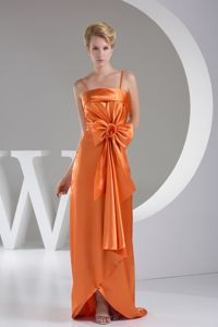 Orange Cheap Graduation Dress with a Bowknot and Hand Made Flower