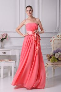 Strapless Watermelon Chiffon Junior Graduation Dress with a Bow Sash