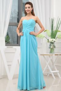 Sweetheart Aqua Blue Junior Graduation Dress with Ruches in Chiffon