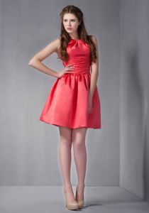Scoop Neck Ruched Rust Red University Graduation Dress in Taffeta