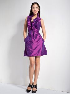 Halter Top Purple University Graduation Dress in Mini-length Taffeta