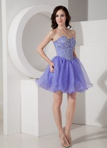 Cute Sweetheart Lilac Beaded Short Graduation Dresses for Girls