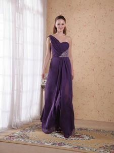 Chiffon One Shoulder Beaded Senior Graduation Dress in Purple