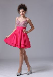 Lovely Side Zipper Beaded Hot Pink Graduation Dress with Straps