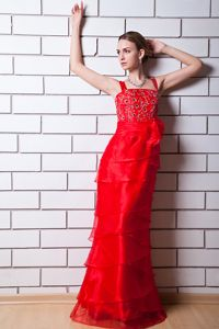 New Straps Tiered Beaded Red Long Graduation Dresses for Girls