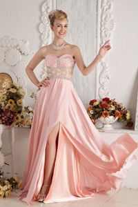 Pretty Slitted Beaded Baby Pink Long Graduation Dress about 150