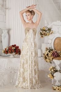 Sequin Lace Champagne Graduation Dresses for High School
