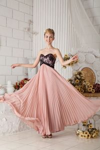 Pleated Peach and Black Prom Dresses for Graduation on Sale