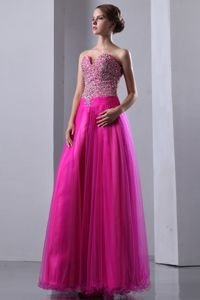 Sweetheart Lace-up Beaded Long Graduation Dresses in Fuchsia