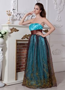 Strapless Ruched Aqua Blue Graduation Dress with Embroidery
