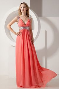 Watermelon Red Graduation Dress with Sequins and Cut out Waist