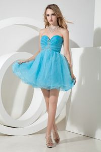 Pretty Organza Mini Aqua Blue 8th Grade Graduation Dress online