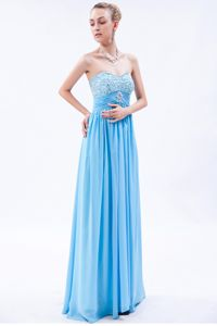 Baby Blue Sweetheart Beaded Senior Graduation Dresses in Chiffon