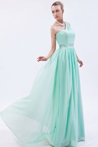 Beaded One Shoulder Floor-length Graduation Dress in Apple Green