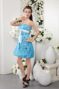 Blue Strapless Short Tulle Formal Graduation Dresses with Sequins