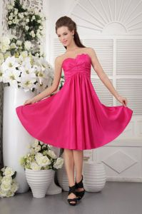 Knee-length Taffeta Strapless Cheap Graduation Dresses in Hot Pink
