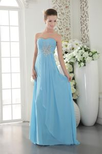 Aqua Blue Chiffon Beaded Sweetheart Grad Dress with Brush Train