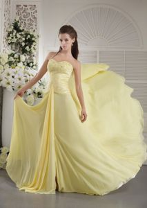 Beaded Light Yellow Chiffon Graduation Dresses with Brush Train