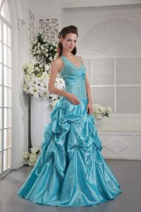 Aqua Blue Halter Taffeta College Graduation Dresses with Appliques