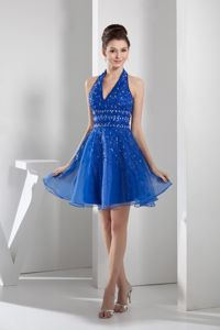 Mini-length Blue College Graduation Dress with beading in Organza