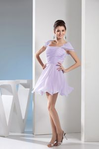 Lilac Mini-length Graduation Dresses with Ruches and Cap Sleeves