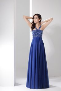 Blue V-neck Floor Length College Graduation Dress with Beadings