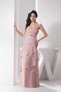 Ruched Strapless Floor-length University Grad Dress with Beadings