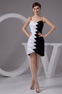 White and Black Graduation Ceremony Dress with Spaghetti Straps