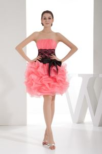 Lace Strapless Short Watermelon Graduation Dress with Pick Ups