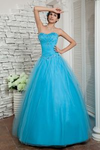 Aqua Blue Sweetheart Beaded College Graduation Dresses in Tulle