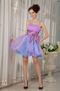 Colorful Straps Organza Ruched Graduation Dresses with Beading